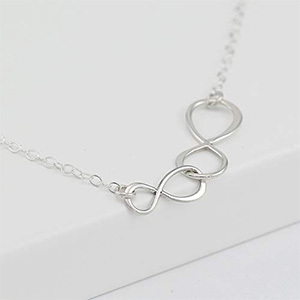 Sterling Silver Double Infinity Mother and Daughter Necklace