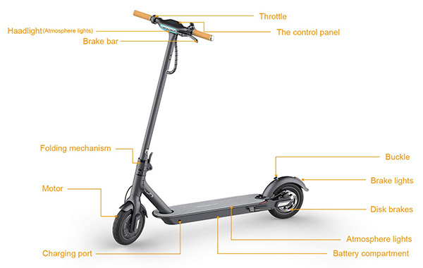 TOMOLOO LED Lights Two-Wheel Electric Scooter