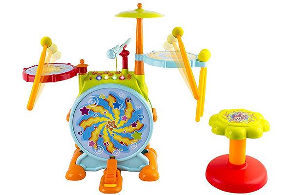 WolVol Electric Big Toy Drum Set