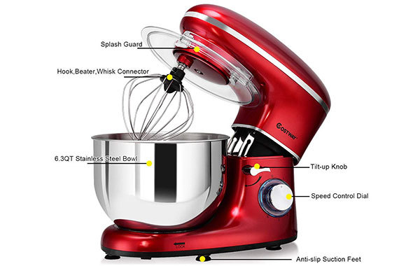 COSTWAY 6.3-Qt 660W 6-Speed Electric Stand Mixer