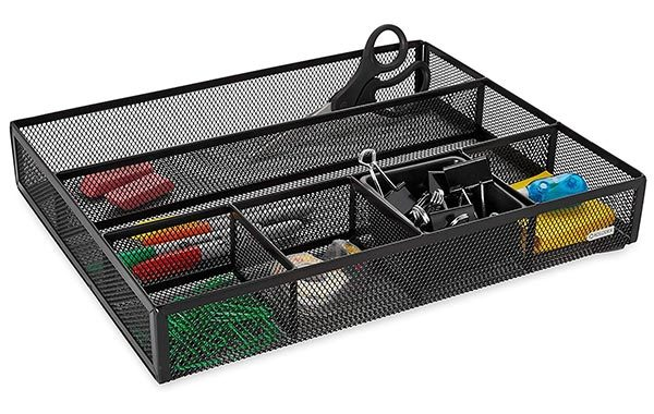 Rolodex Deep Desk Metal Mesh Drawer Organizer