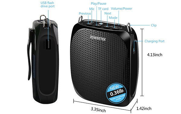 Zoweetek Portable Rechargeable Mini Voice Amplifier
