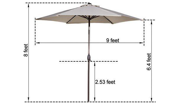Abba Outdoor Patio Nine Foot Market Umbrella