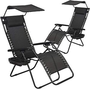 BestMassage 2 PCS Zero Gravity Chair Lounge Patio Chair