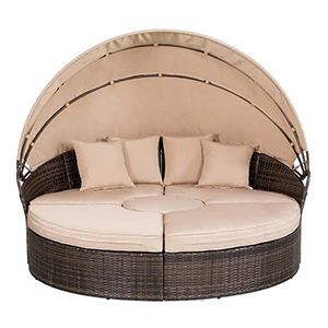 SUNCROWN Outdoor Patio Round Daybed