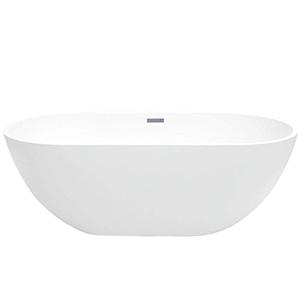 Maykke Barnet Acrylic White Modern Oval Bathtub