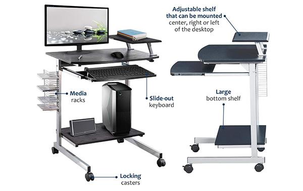 Mobile & Compact Complete Computer Workstation Desk